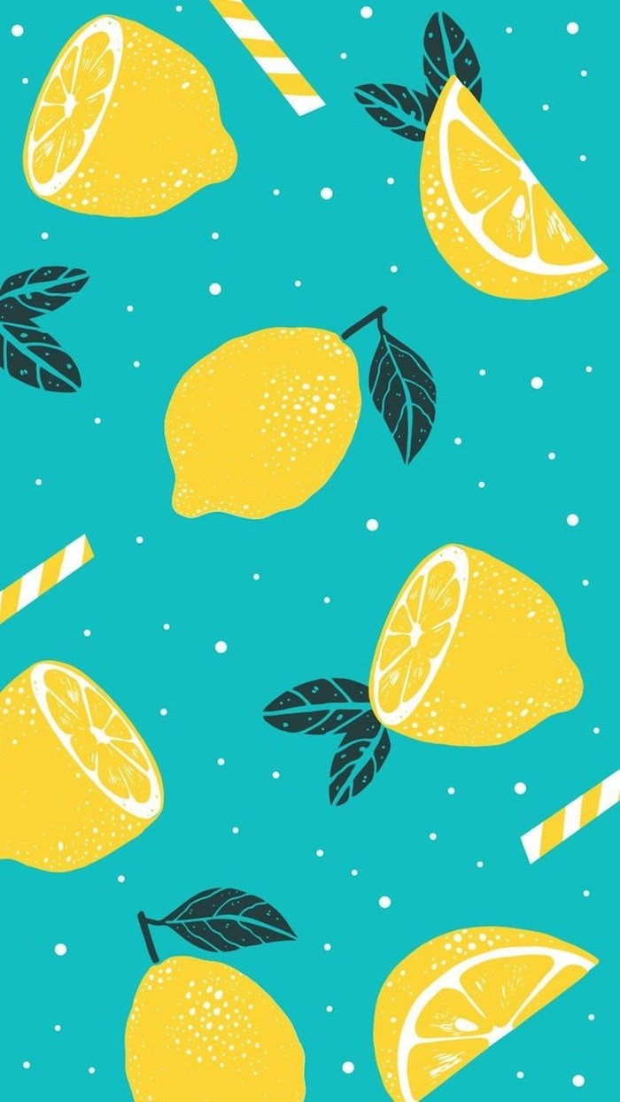 cute phone backgrounds, colored drawing, sliced lemons, on blue background