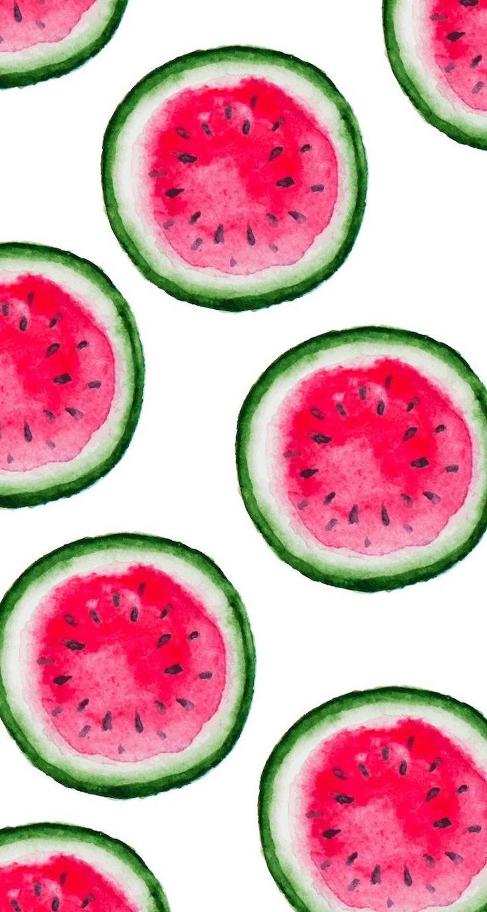 sliced watermelons, on white background, colored drawing, cute phone backgrounds