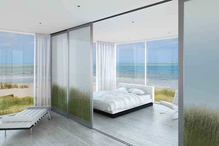 frosted glass, sliding panels, bedroom bed, room divider bookcase, white curtains, white lounge chair