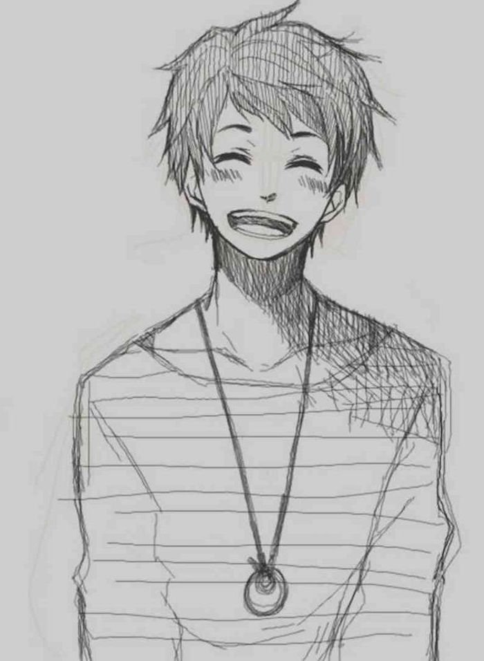 how to draw manga, pencil sketch, black and white, boy drawing