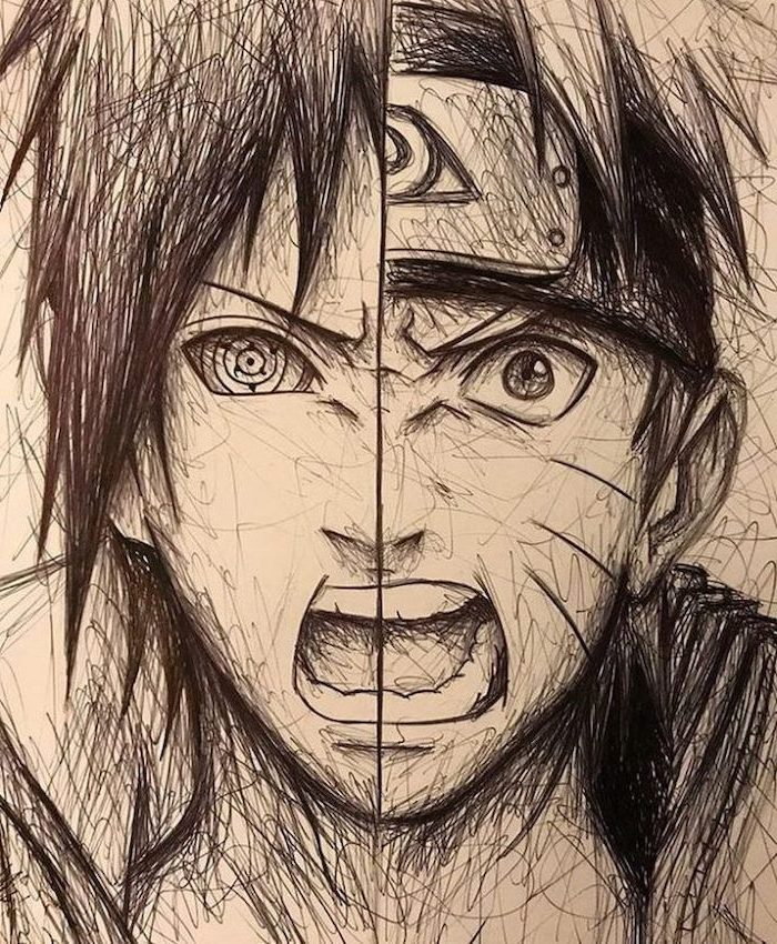 split drawing, black and white, pencil sketch, how to draw manga, anime characters