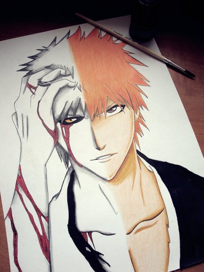 anime sketch, split drawing, boy drawing, red hair, red streaks, black jacket, colourful drawing