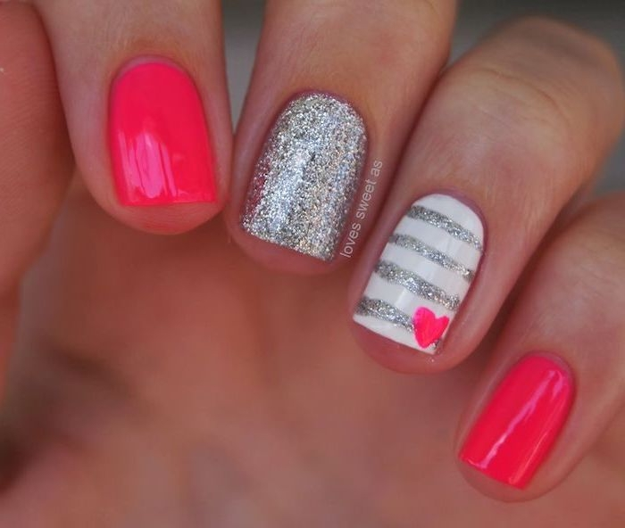 pink and silver glitter, nail polish, small pink heart, nude nail designs, white and silver stripes