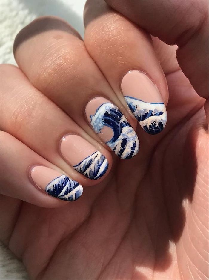 nude nail polish, large wave drawing, nude nail designs