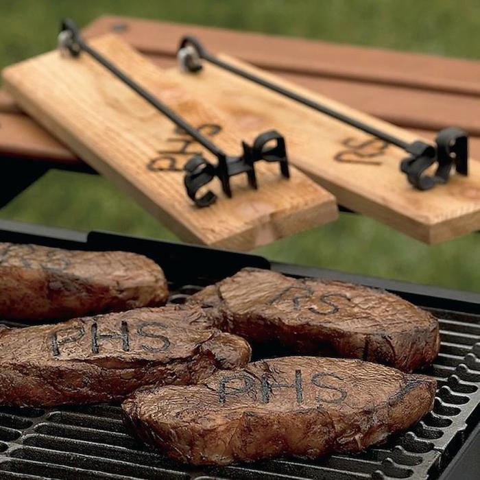 steak branding iron, of the person's initials, groomsmen gift box, wooden holders, grilled steak