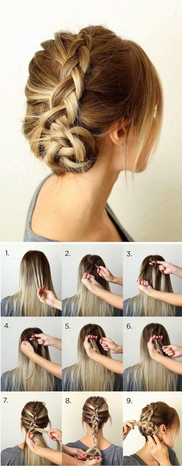 blonde hair, braided updo, step by step, diy tutorial, half up half down braid