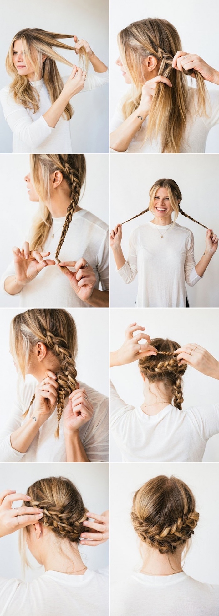 half up half down braid, white shirt, step by step, diy tutorial, braided updo