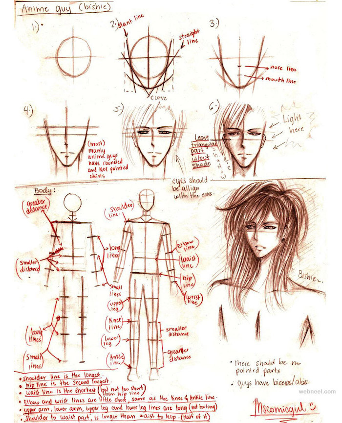 anime guy, anime sketch, step by step, drawing tutorial, face and body