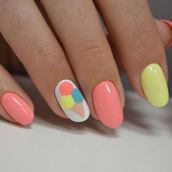 yellow and pink, nail polish, ice cream cone drawing, nude nail designs, white background