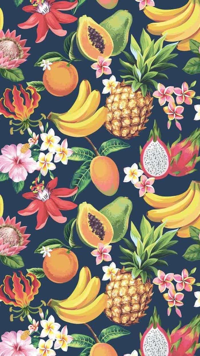 summer wallpaper, bananas and pineapples, peaches and passion fruit, pink and white flowers