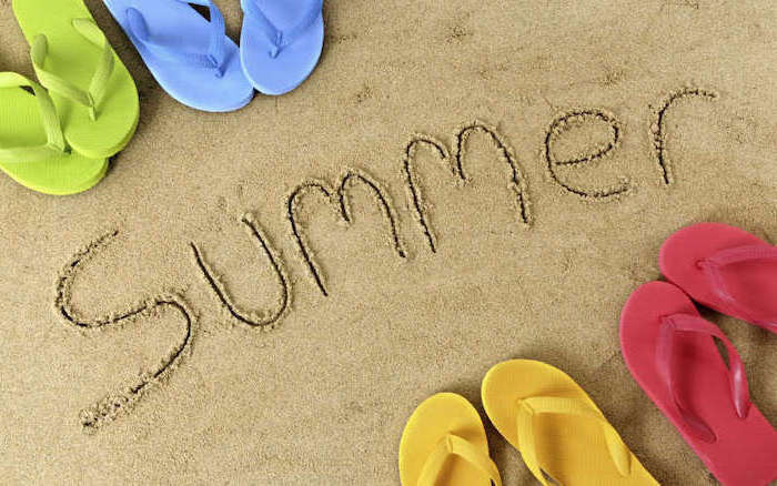summer written in the sand, cute wallpapers for lock screen, blue and green, yellow and red, flip flops