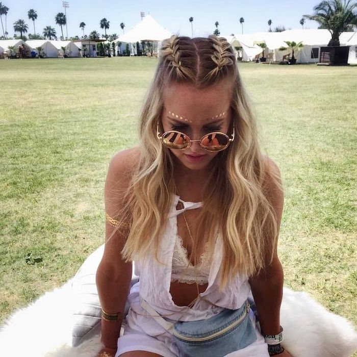 festival look, two braids, beach waves, half up half down braid, white top