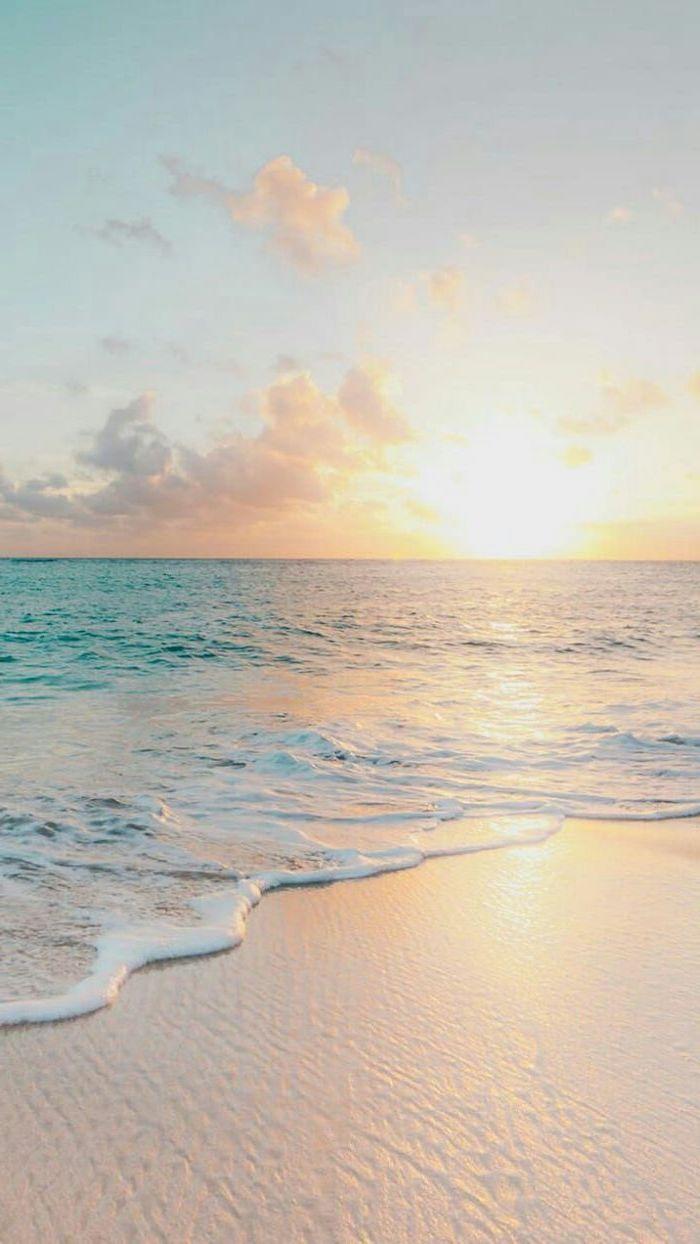 sunset sky, ocean waves, summer wallpaper, beach sand