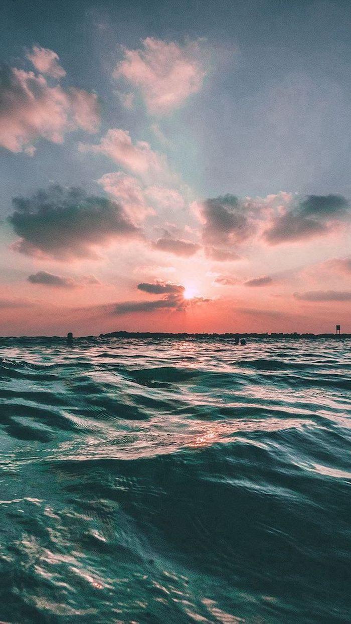 sunset sky, summer wallpaper, ocean waves, blue and orange sky