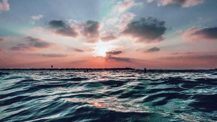 rose gold iphone wallpaper, ocean waves, sunset sky, over the ocean