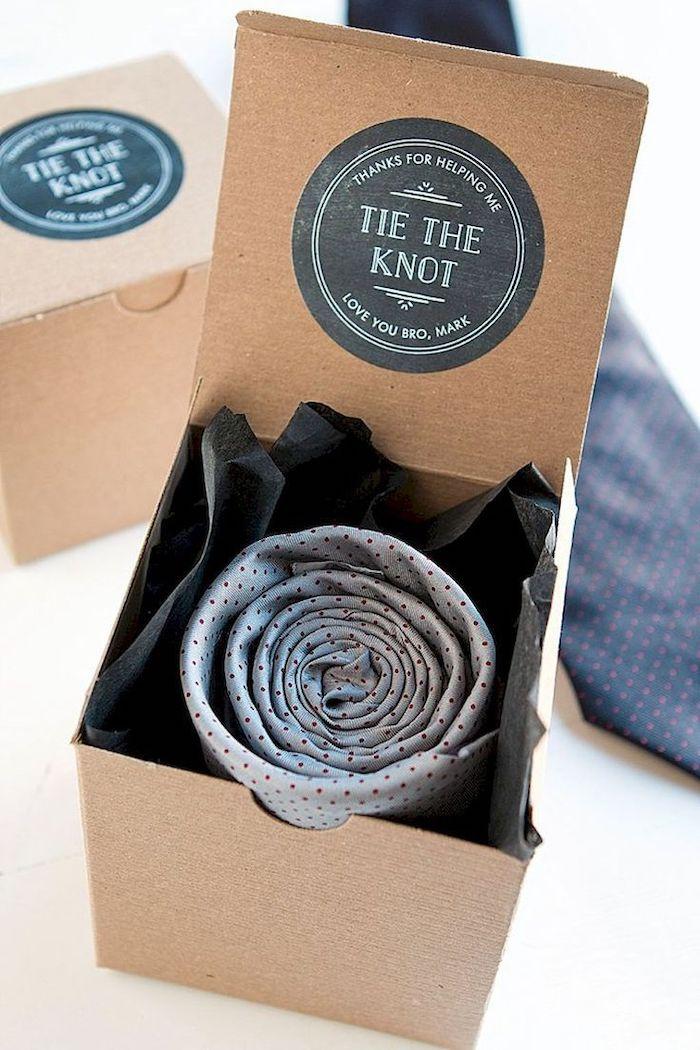 tie the knot, practical groomsmen gifts, carton box, grey tie inside