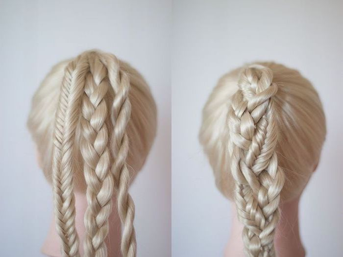 blonde hair, three different braids, braided together, how to do a dutch braid, white background