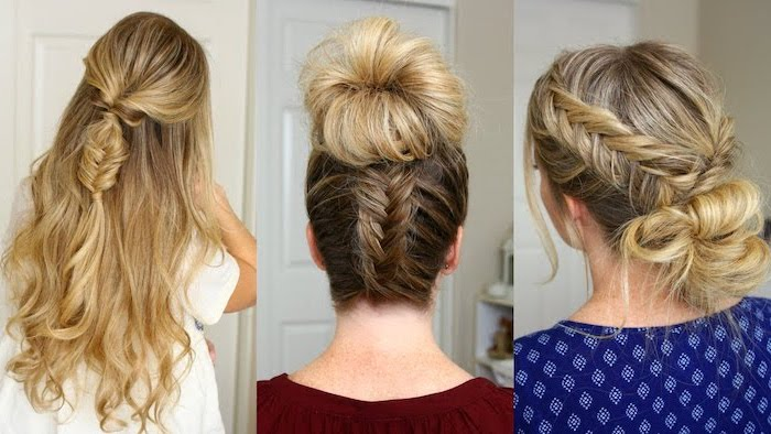 three different hairstyles, dark blonde hair, with highlights, side by side photos, how to do a dutch braid