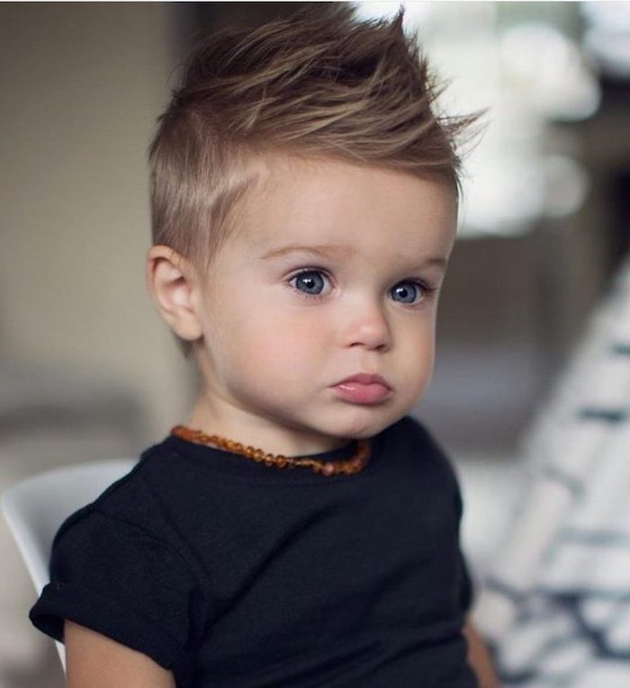 blue eyes, blonde hair, black shirt, cool hairstyles for men, toddler boy, beaded necklace