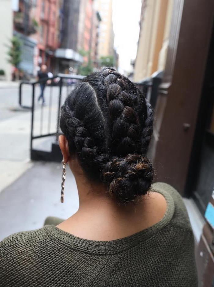 black hair, braided bun, how to do a dutch braid, olive green sweater