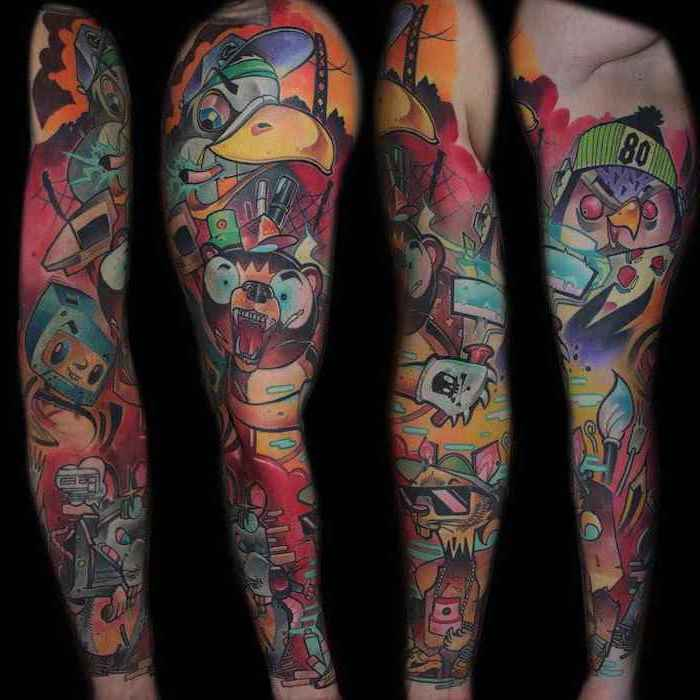 new school tattoo, animated characters, sleeve tattoos for guys, black background