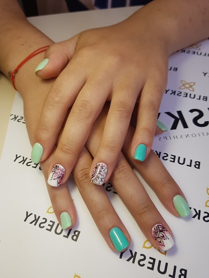 turquoise and blue, nail polish, black flowers, watercolor background, cute short nails, squoval nails