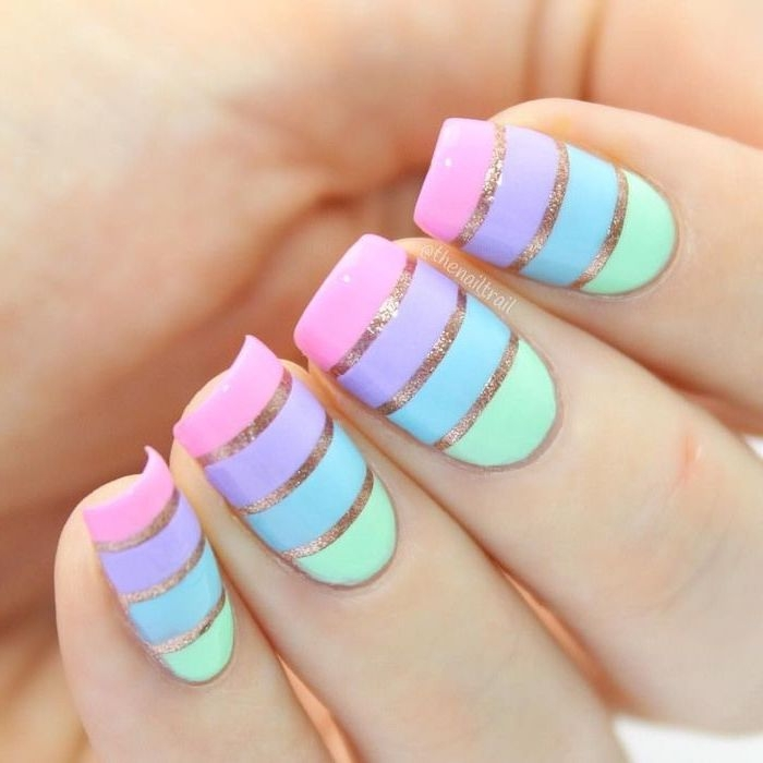 cool nail designs, green and blue, purple and pink, gold glitter lines