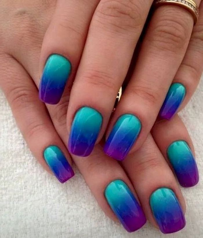 light blue, dark blue, purple ombre, cute simple nails, white background
