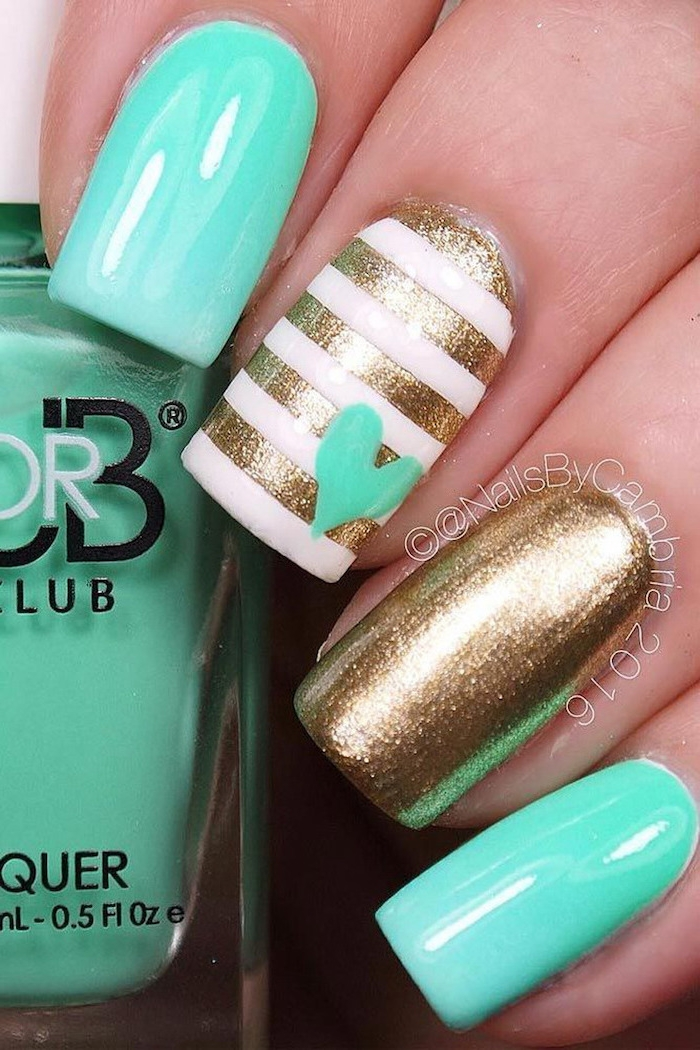 turquoise and gold glitter, nail polish, cute simple nails, white and gold stripes, small turquoise heart