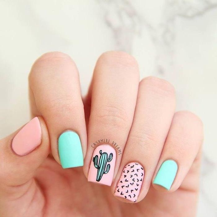 pink and blue, nail polish, green cactus, black hearts, cool nail designs