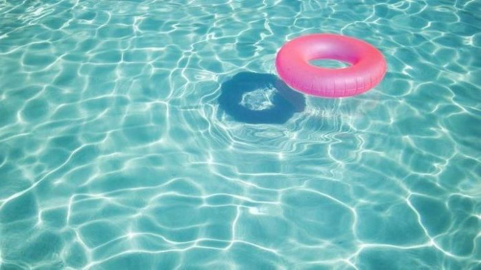 blue pool water, pink pool float, rose gold iphone wallpaper