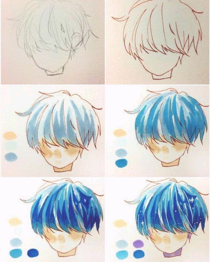 blue hair, step by step, drawing tutorial, anime sketch