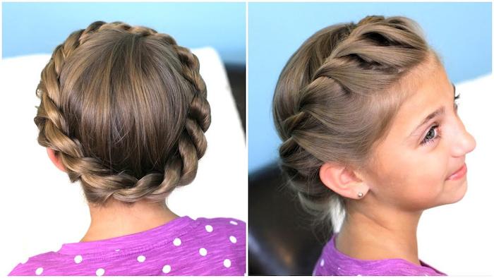 little girl, brown hair, twisted braid, how to do a dutch braid, purple shirt, white dots