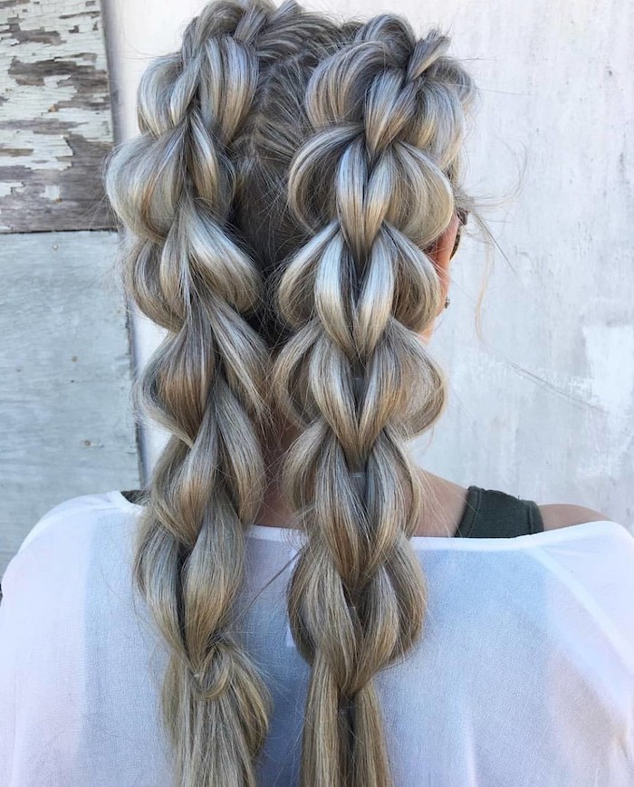 how to do a french braid, ash grey hair, two braids, white top, white background