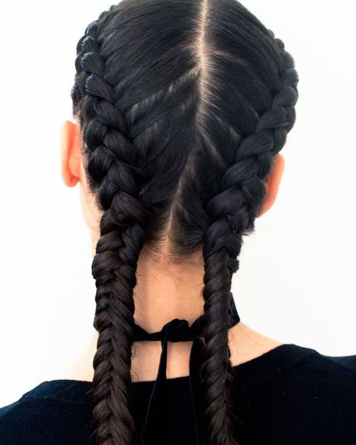 black hair, two side braids, black top, white background, braid hairstyles for long hair