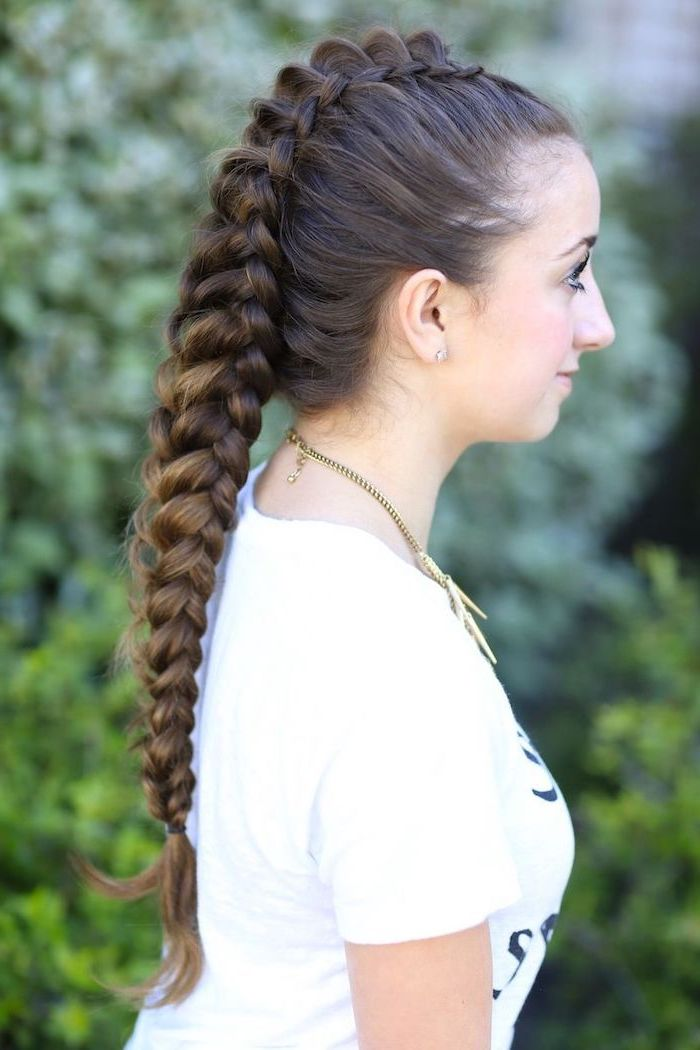 brown hair, ponytail braid, braid hairstyles for long hair, white shirt