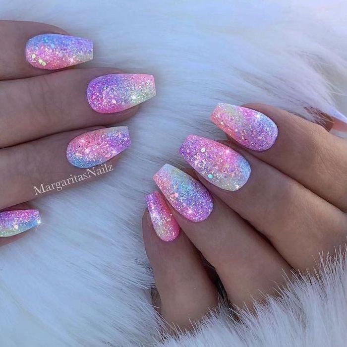 multi color glitter, nail polish, cool nail designs, unicorn nails, white background