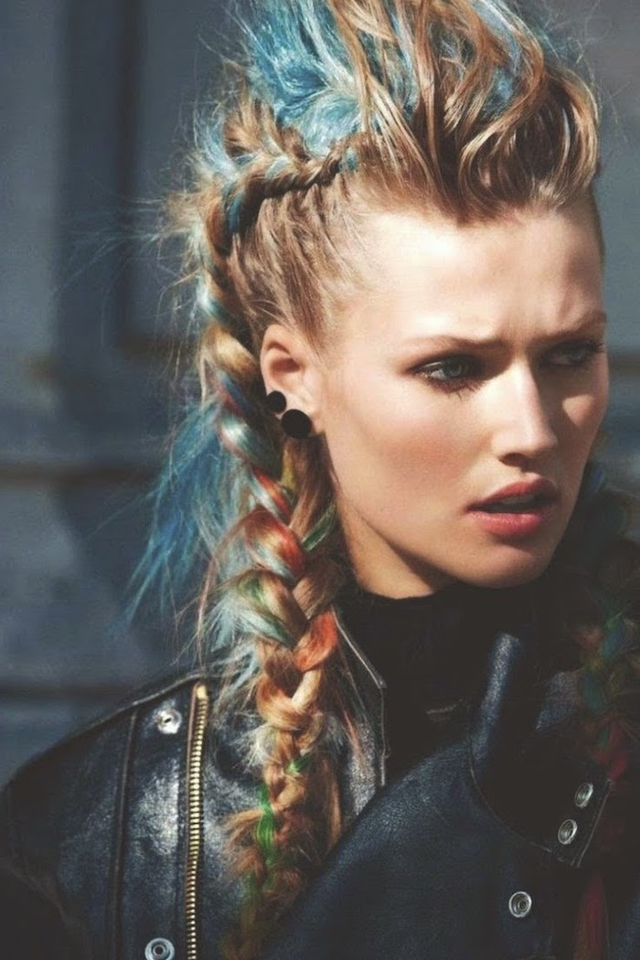 blonde hair, colourful highlights, mohawk side braid, braid hairstyles for long hair, black leather jacket