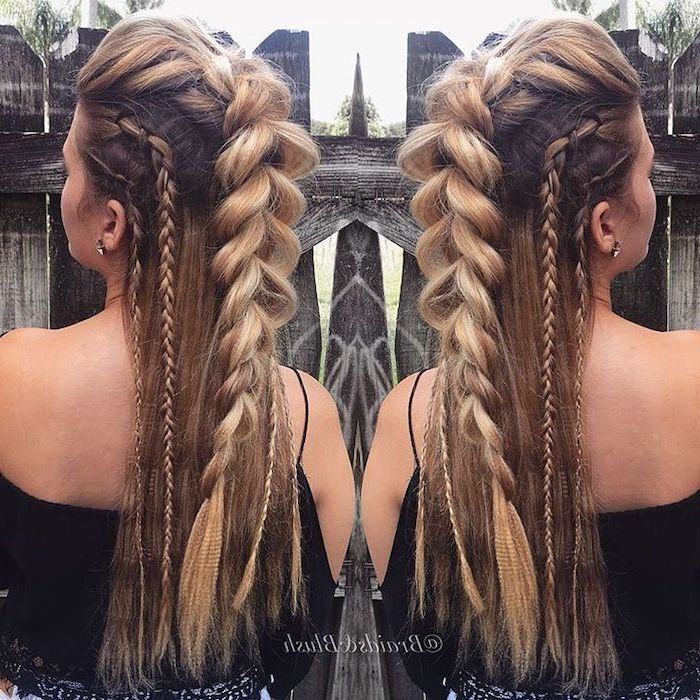 viking braids, blonde hair, with highlights, braid hairstyles for long hair, different braid styles
