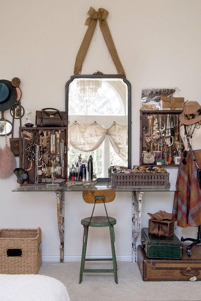 hanging mirror, rustic decor, metal stool, floating glass shelf, corner makeup vanity, hanging necklaces