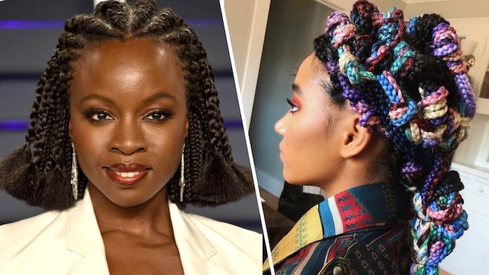 braid styles for girls, viola davies, black hair, colourful intricate braids, side by side photos
