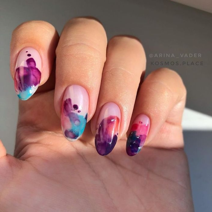 watercolor nails, cool nail designs, purple and red, blue and orange, squoval nails