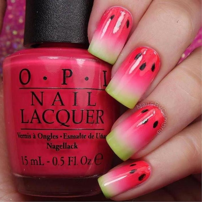 watermelon nails, pink and green ombre, black seeds, nail polish bottle, cute simple nails