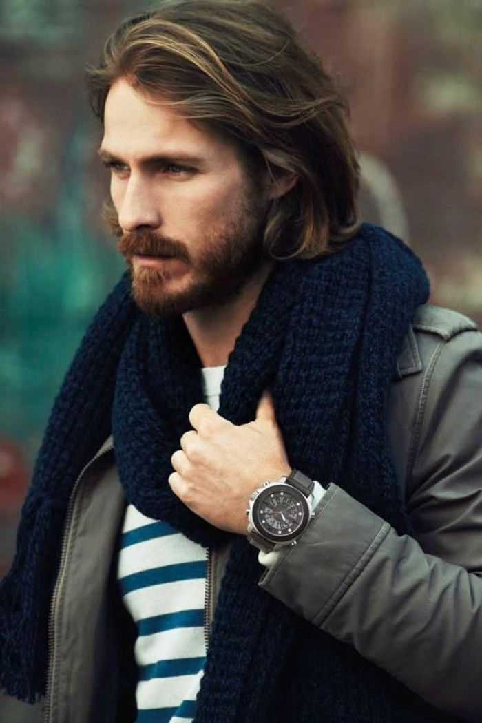 brown hair, navu blue scarf, wavy hairstyles for men, grey leather jacket, blue and white striped shirt