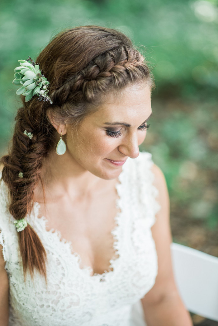 white lace dress, brown hair, side fishtail braid, hair accessories, braid styles for girls