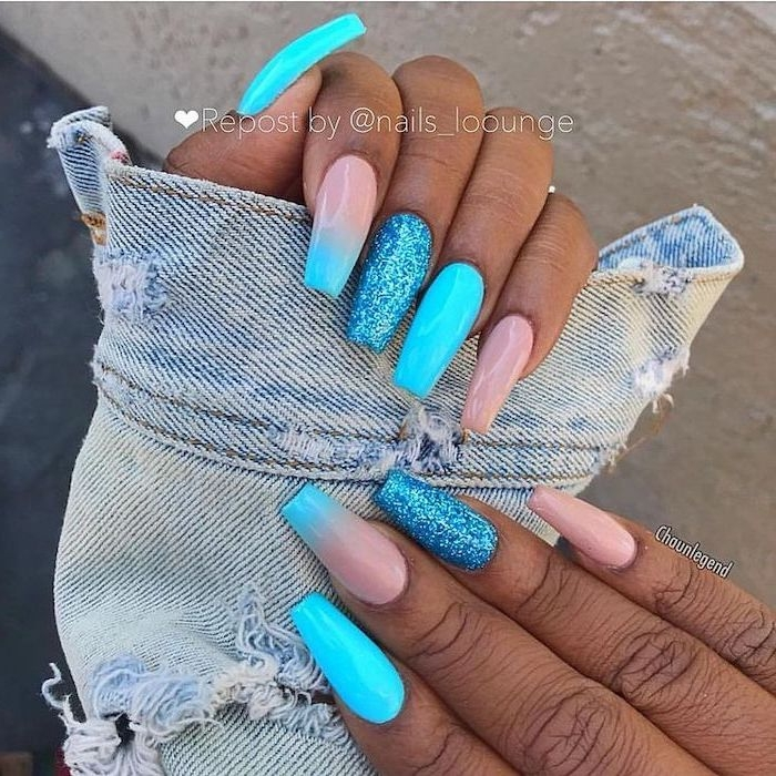 blue and nude, ombre effect, blue glitter, nail polish, cute simple nails, long coffin nails
