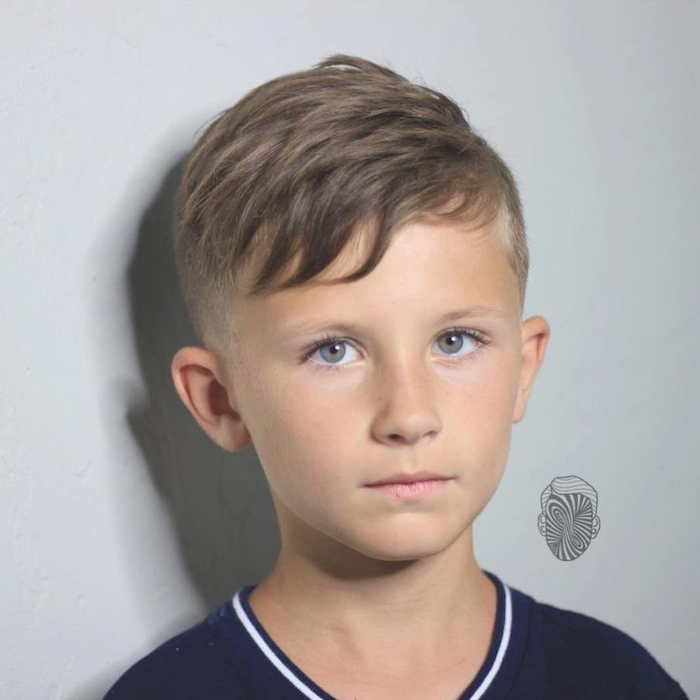 white background, best haircut for boys, blue shirt, blonde hair, blue eyes