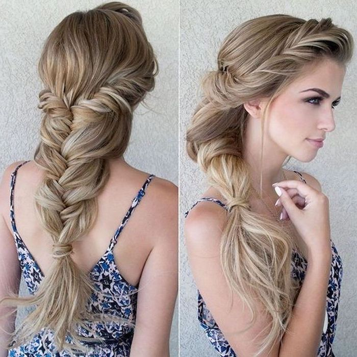 side by side photos, braid styles for girls, blonde hair, loose braid, floral dress