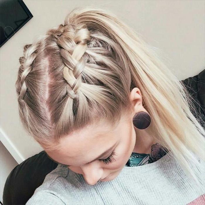 blonde hair, two braids in a ponytail, grey sweatshirt, braid styles for girls, white background