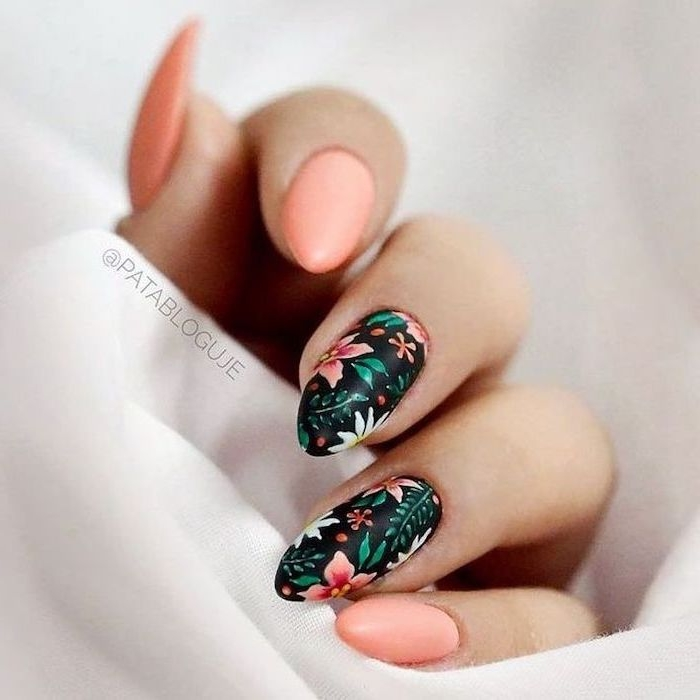 light pink, blue matter, nail polish, classy nail designs, orange and white flowers, green leaves
